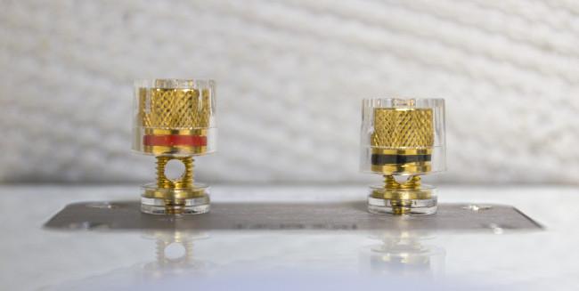 Les borniers plaqués or sont recouverts de plastique pour un vissage plus sûr