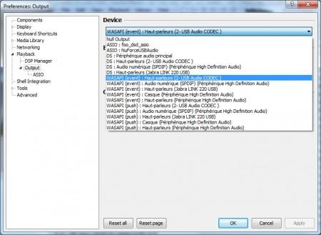 Foobar2000 doit être utilisé en mode Wasapi Event avec le DAC USB Graham Slee Bitzie