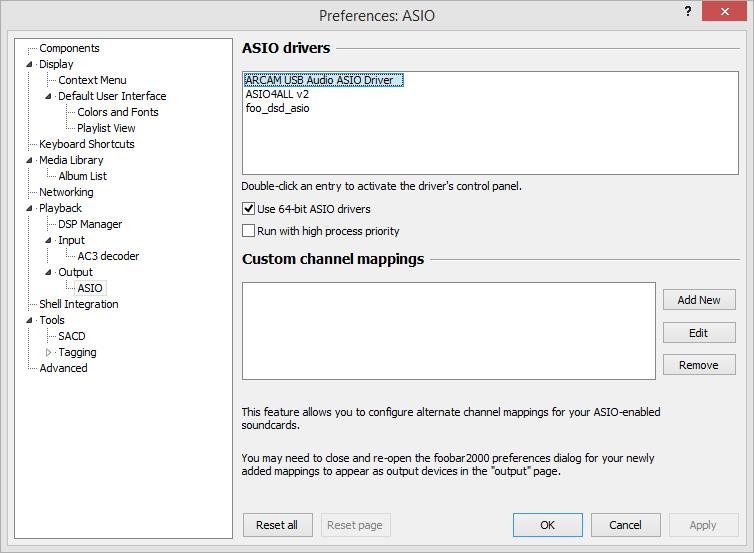 Il est nécessaire de sélectionner le pilote ASIO Arcam dans Foobar2000 après avoir installé le plugin ASIO de l'application