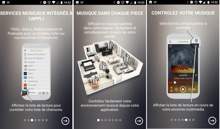 L'app D-Stream est traduite en français et présente de façon claire ses fonctionnalités.