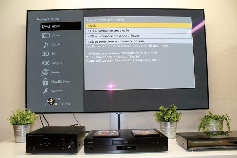 Panasonic DP-UB9000: menu de réglage du type de TV