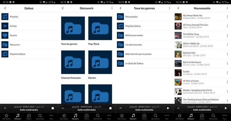 App Sonos: service de musique en ligne Qobuz
