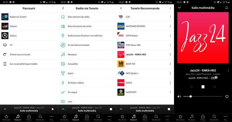 App Sonos: service de radios internet TuneIn
